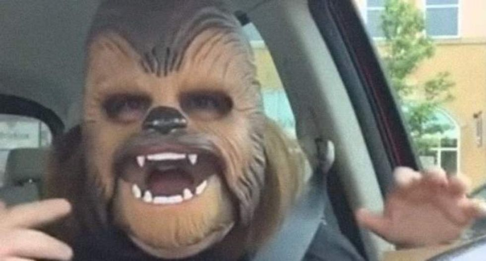 Texas woman's joyful reaction to Chewbacca mask makes her an online hit