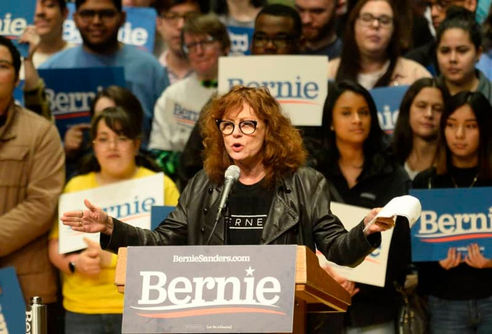 Topless protesters storm stage as Bernie Sanders campaigns in Nevada