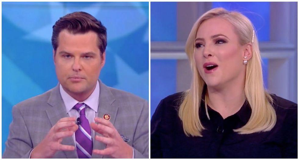 Meghan McCain laughs in Matt Gaetz's face as the Trump-loving congressman flops on The View
