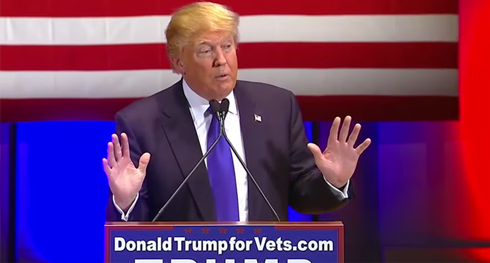 Trump blames Hillary for veterans' protest after he's caught lying about donating millions