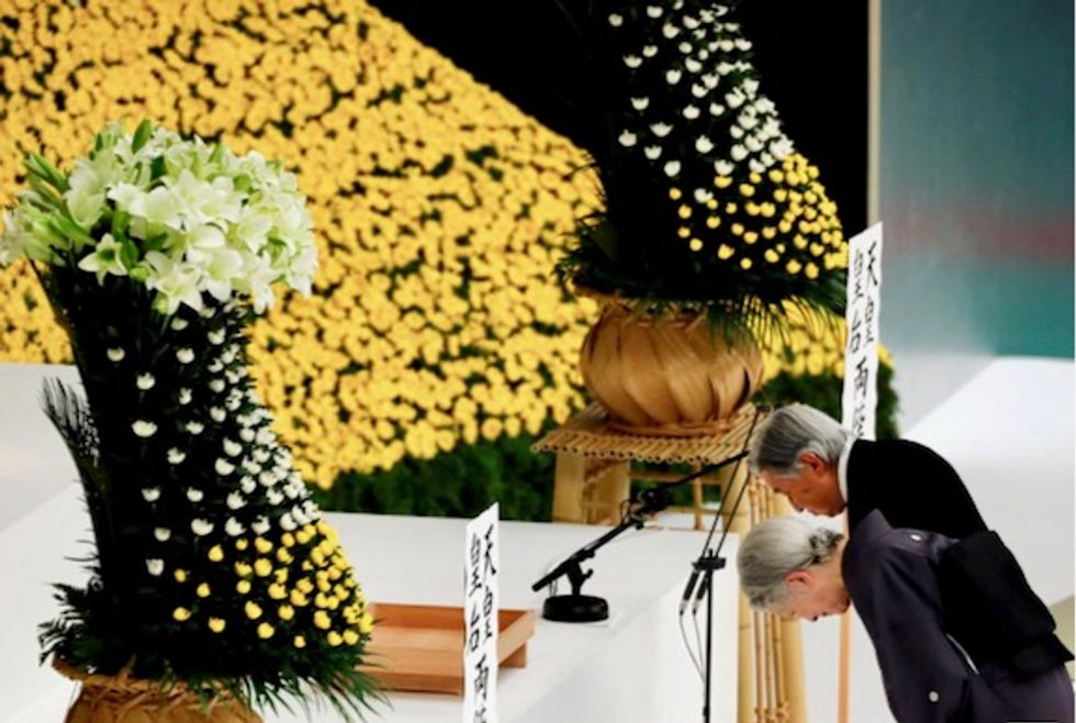 Japan Emperor Akihito expresses 'deep remorse' over war; PM sends offering to shrine