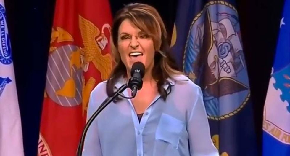'Suck it up, cupcake!': Sarah Palin delivers another weird and incoherent speech introducing Trump