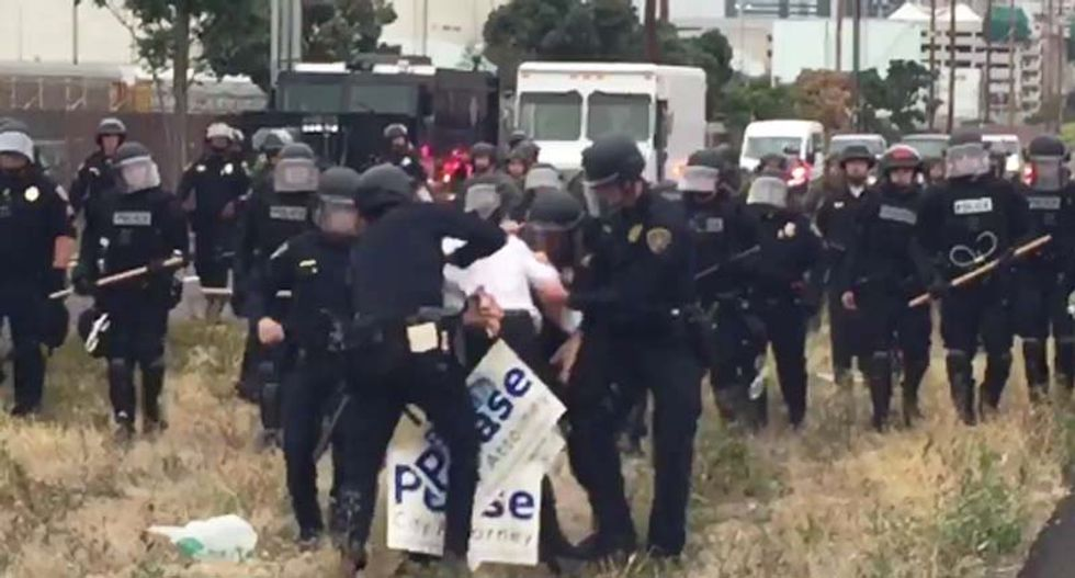 WATCH: SD city attorney candidate mobbed by cops at Trump protest as candidate calls protesters 'thugs'
