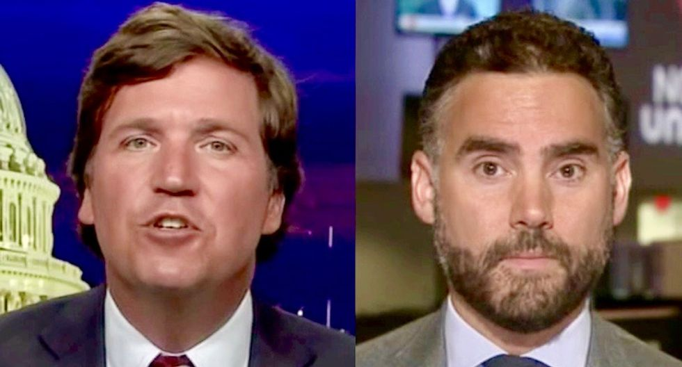Fox News host Tucker Carlson repeatedly claims 'tacos are American food' to confused Mexican journalist