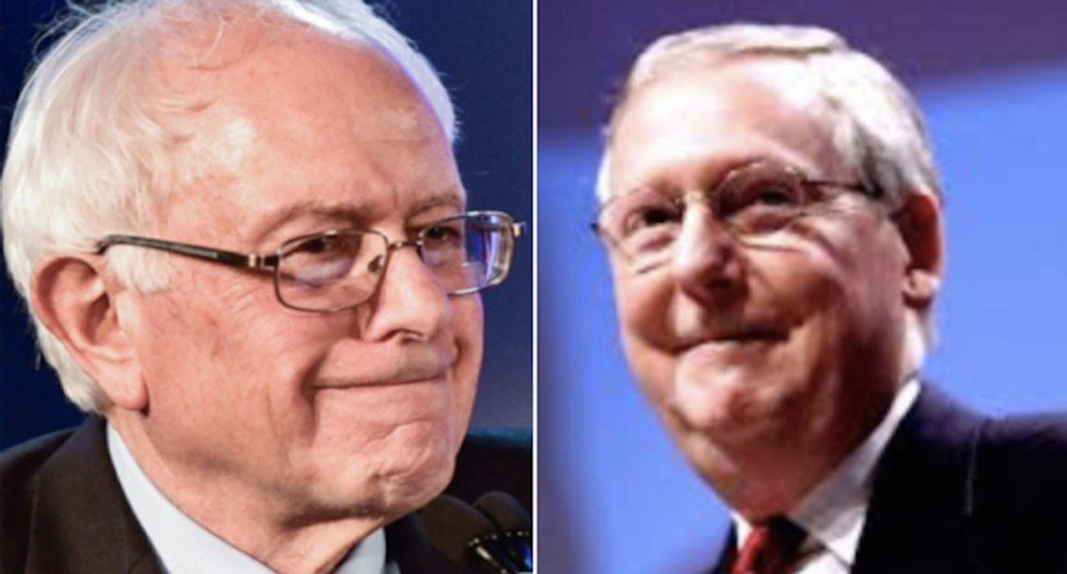 Bernie Sanders calls out Mitch McConnell for ignoring protesting coal miners and blocking $15 minimum wage