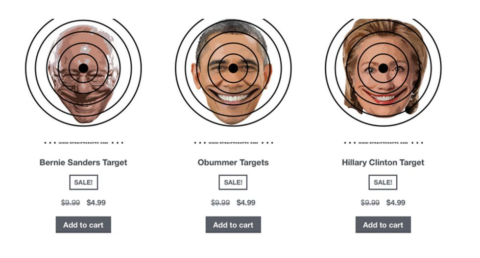'Muslim-free gun shop' now selling targets with Bernie, Obama and Hillary pictures on them