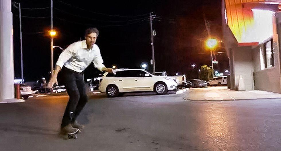 WATCH: Ted Cruz challenger Beto O'Rourke skateboards through Texas Whataburger parking lot