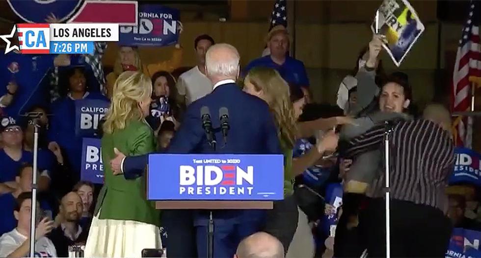 Symone Sanders and Dr. Jill Biden take down anti-dairy protestor at Joe Biden rally