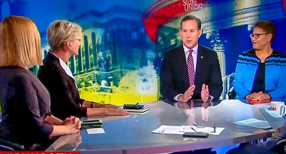 Rick Santorum goes down in flames trying to mansplain to three women why Mueller should target Hillary Clinton
