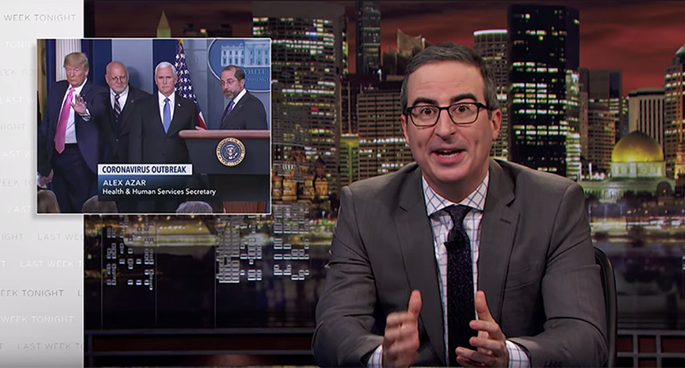 Furious John Oliver shreds Trump and Pence for only focusing on coronavirus numbers and not people
