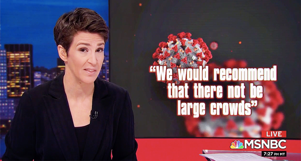 Maddow reveals pleas from doctors: 'We're fighting two wars -- one is coronavirus and the other is stupidity'