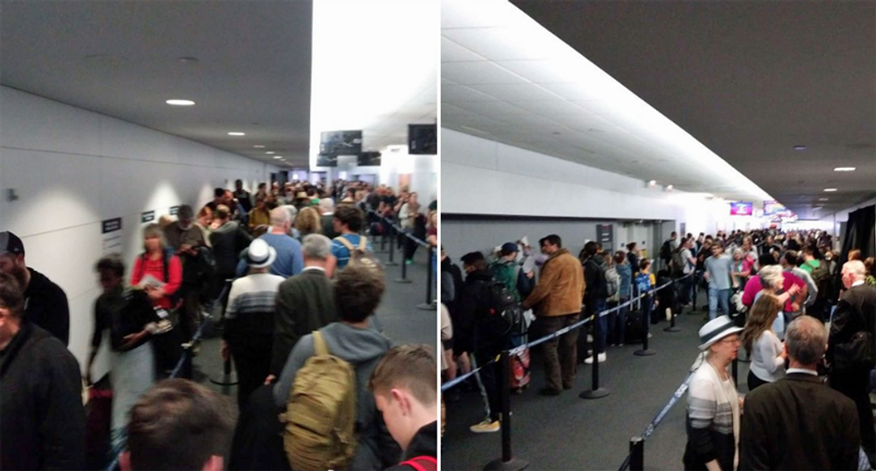 Shocking photos emerge from airports of long and crowded lines for coronavirus testing: 'A social distancing nightmare'