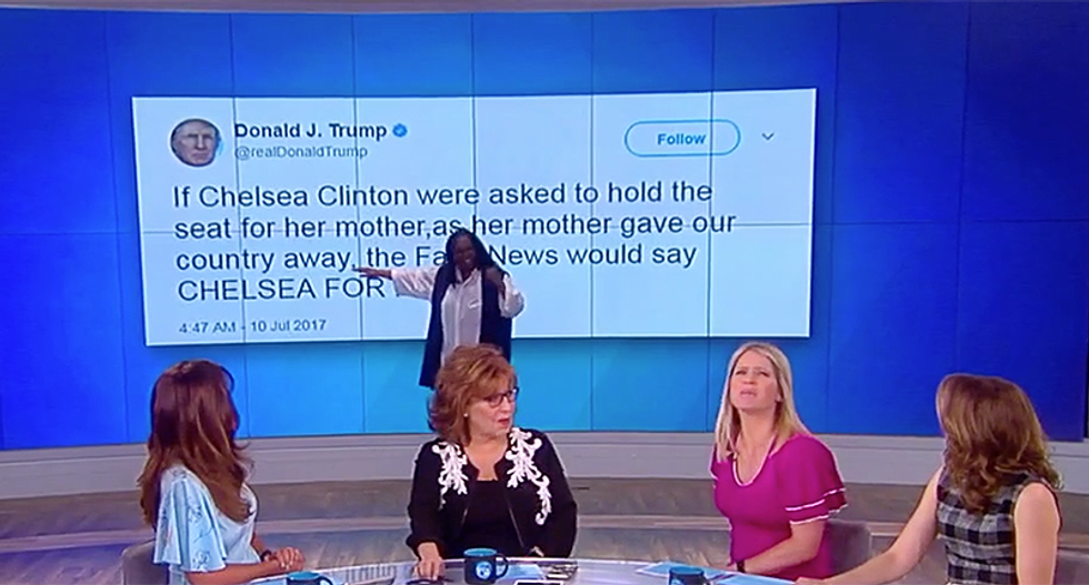 'Freudian slip perhaps?': The View calls out Trump for tweeting that he's 'giving our country away'