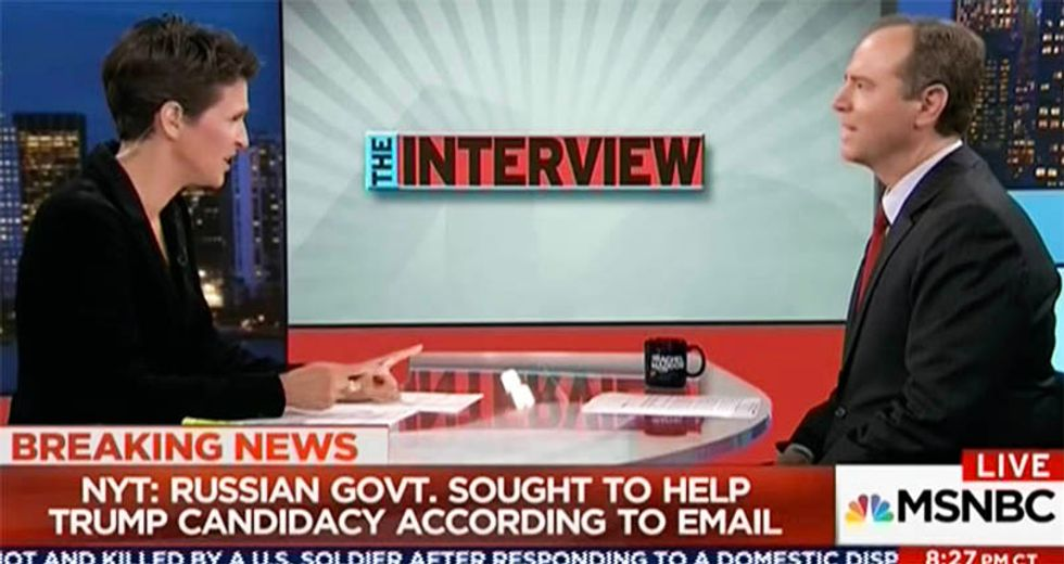 WATCH: Rachel Maddow and Rep. Schiff connect dots between Don Jr. email and Trump-Russia collusion