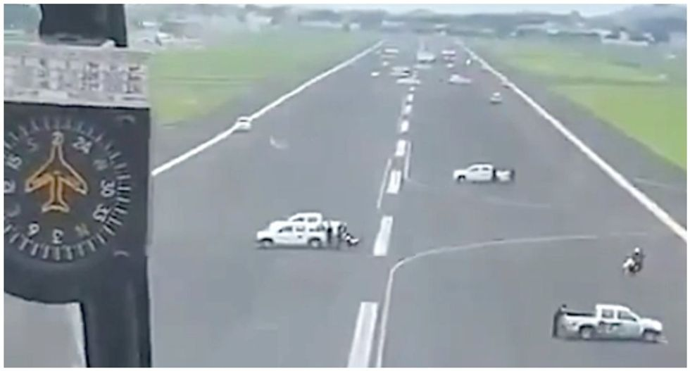WATCH: Mayor orders cars parked on runway to block planes from landing in Ecuador