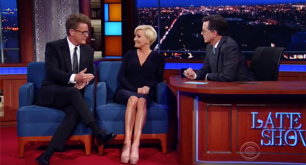 'He's a primo tool': Joe Scarborough and Mika unload on 'easily played' Trump during hilarious Colbert interview