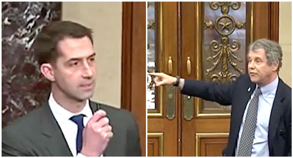'You always want to do Trump's bidding': Tom Cotton gets shut down as sparks fly in the Senate