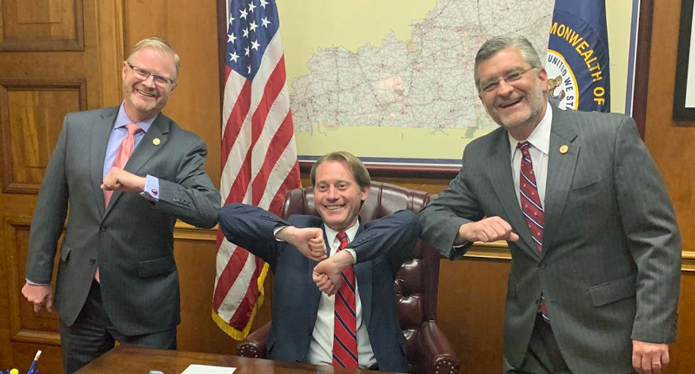 Kentucky Republicans celebrate after making it more difficult for people to vote during coronavirus crisis