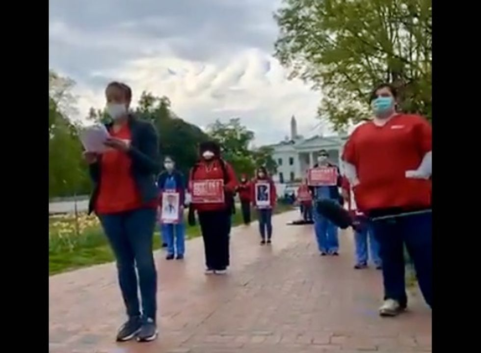 'Listen... and take action': In front of White House, nurses read names of colleagues who have died from Covid-19