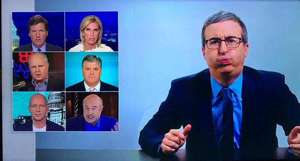 WATCH: John Oliver tries to 'cast out' right-wing media like a televangelist