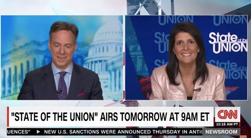 Jake Tapper can't help but laugh at Nikki Haley's excuses for Trump's 'big box of crazy' climate views