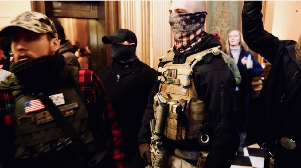 'Un-American' anti-lockdown protesters hammered by Army veteran for appropriating military gear to make their point