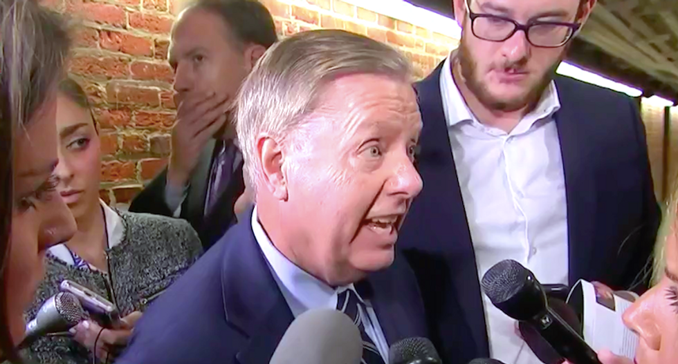 Watch Lindsey Graham's meltdown in front of reporters over Ford testimony: 'God help us as Republicans'