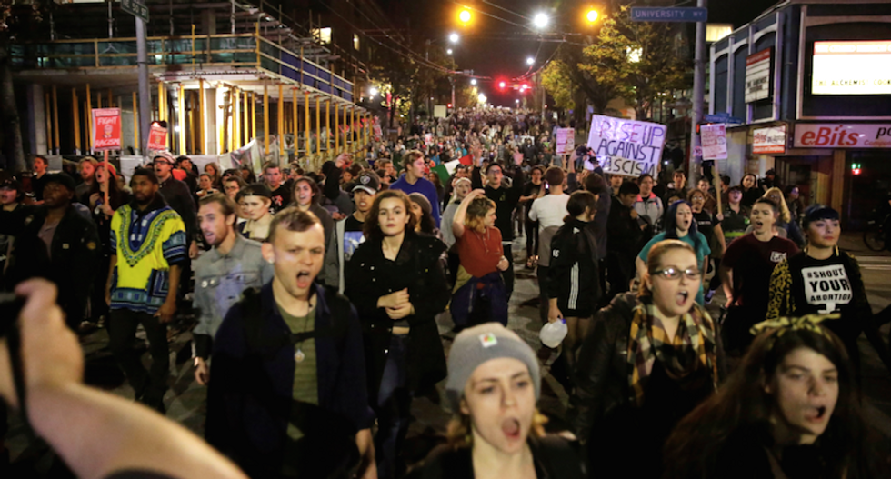 Thousands of anti-Trump protesters take to streets of US cities