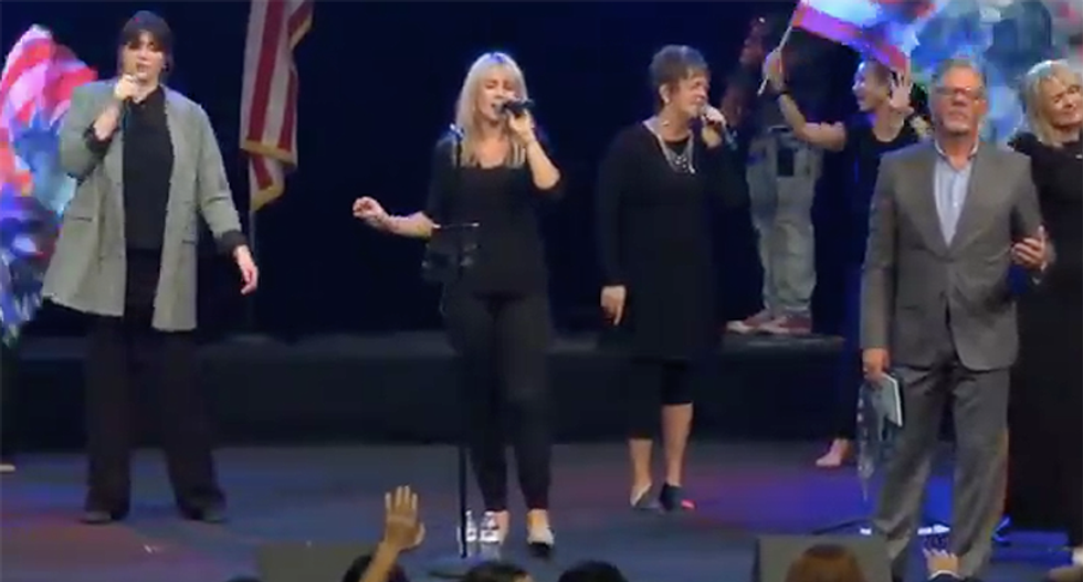 Trump mum during Vegas church service violates US Flag Code after years attacking Black athletes for disrespect