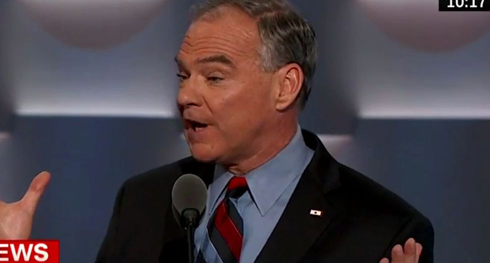 NC GOP wigs out after mistaking Tim Kaine's Marine pin for Honduras flag -- and hilarity ensues