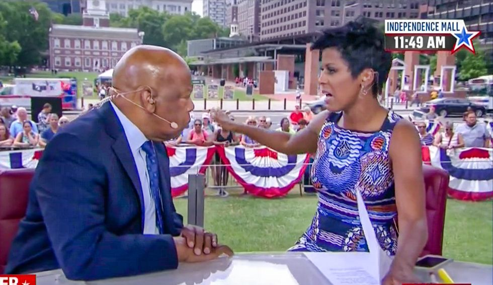 MSNBC's Tamron Hall lays waste to DNC protesters for shouting down John Lewis