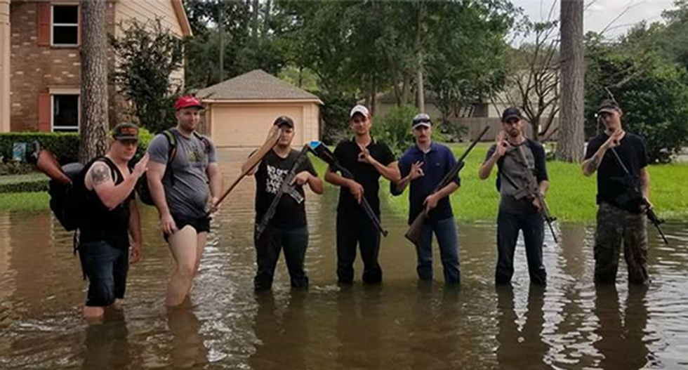 Armed right-wing militias ripped for bringing guns to 'help' Harvey survivors in Houston