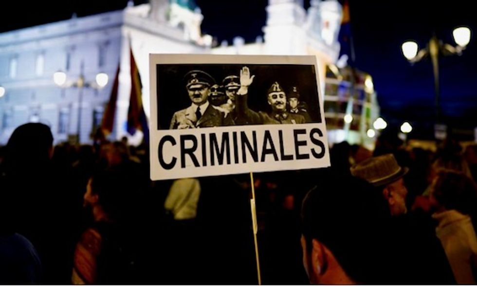 Thousands protest outside Madrid cathedral against fascist dictator Francisco Franco burial