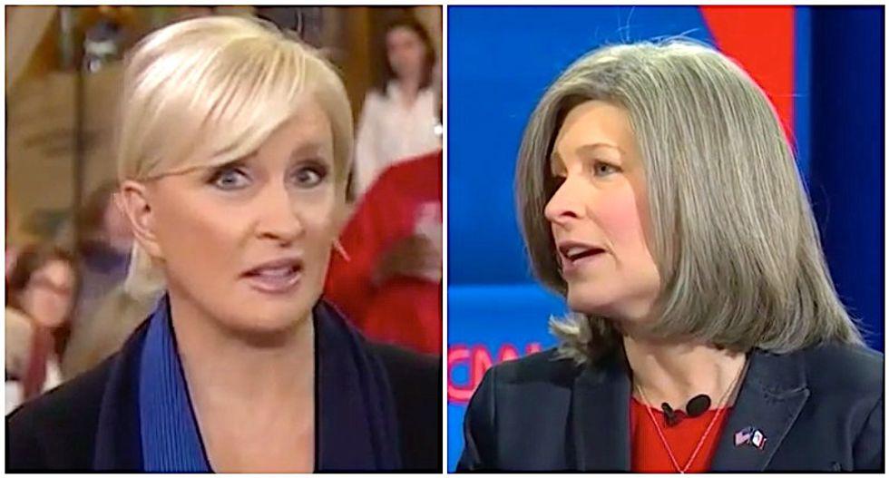 Iowa crowd goes wild as MSNBC's Mika denounces Joni Ernst as a 'useful idiot'