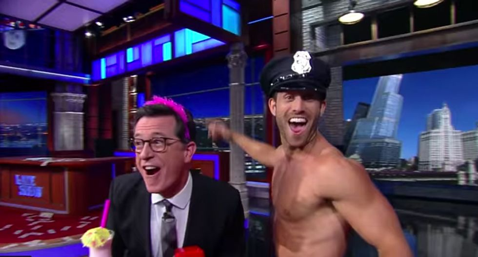 Stephen Colbert tracks down Donald Trump's 'top Chicago cop' -- and things get 'naughty'