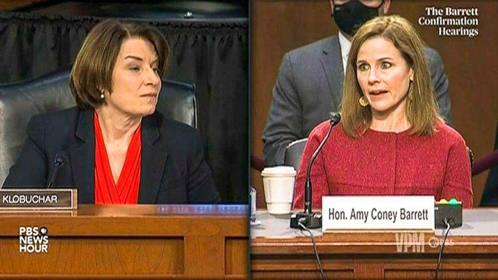 WATCH: Amy Coney Barrett refuses to say if 'clear voter intimidation' is illegal