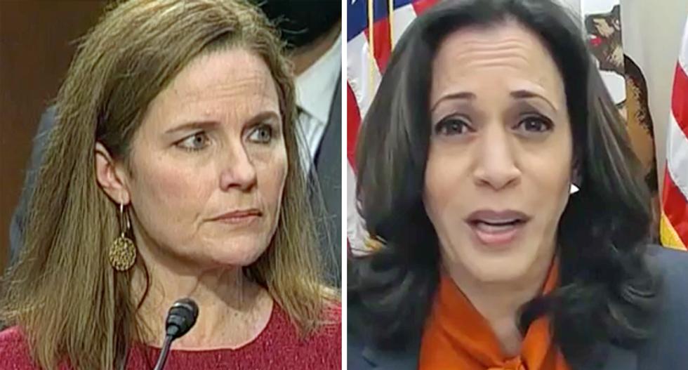 Amy Coney Barrett watches in stunned silence as Kamala Harris blasts Senate Republicans