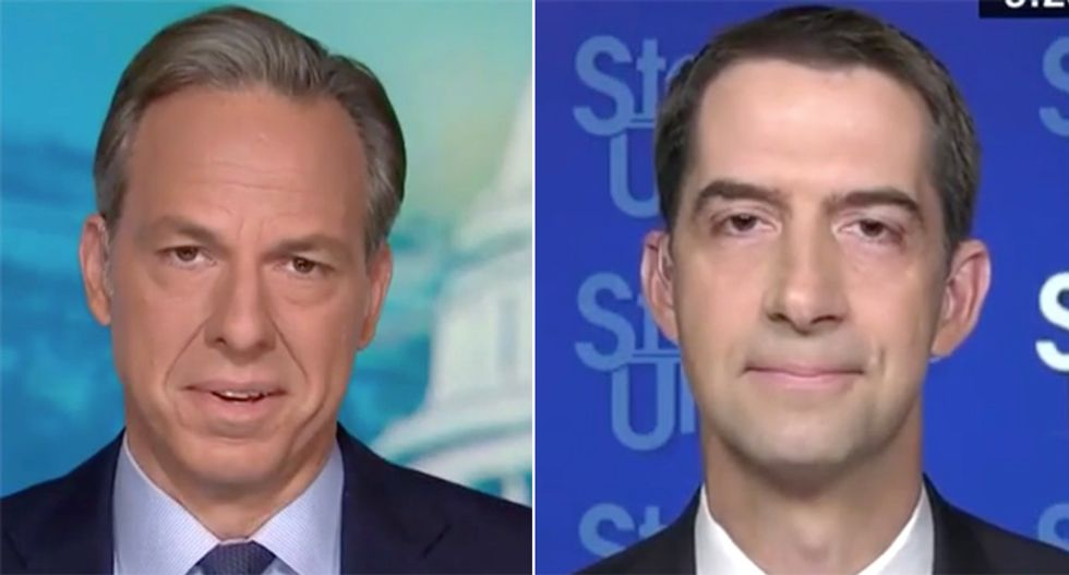 Tom Cotton cornered by CNN's Tapper over Trump's threat to not hand over power if he loses in November
