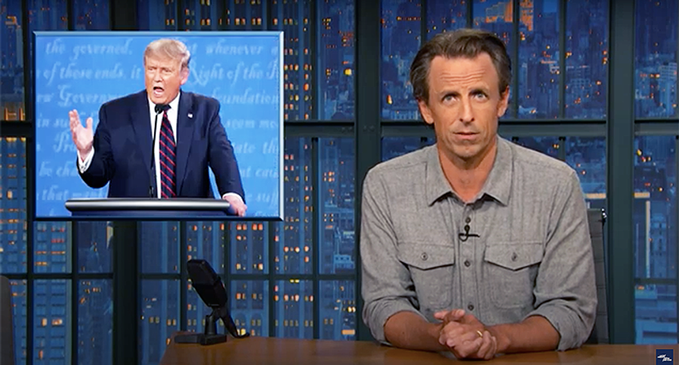 Seth Meyers knocks 'petulant psycho' Trump for disaster debate: 'Like a drunk who wouldn't hand over his keys'