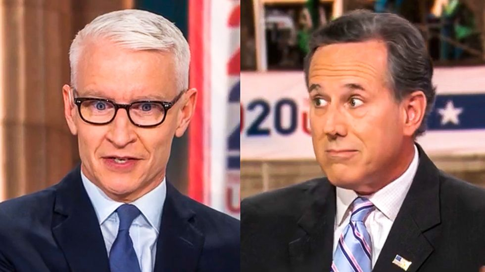 'Pathetic!' Anderson Cooper rips Rick Santorum after he defends Trump for claiming COVID is 'blessing from God'