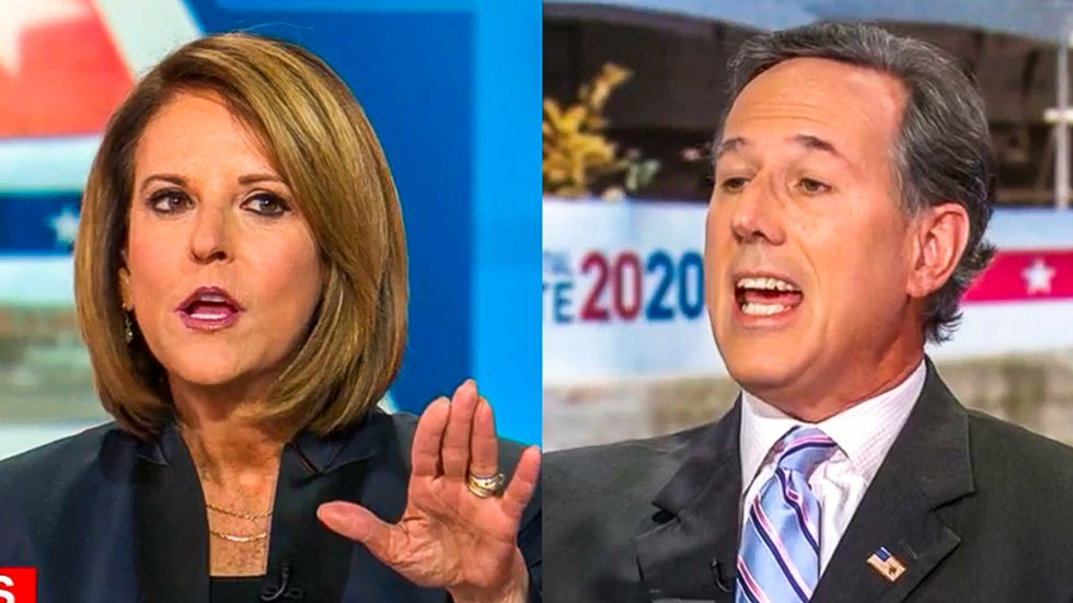 WATCH: Rick Santorum interrupts only woman on CNN panel to defend Mike Pence's interruptions of Kamala Harris