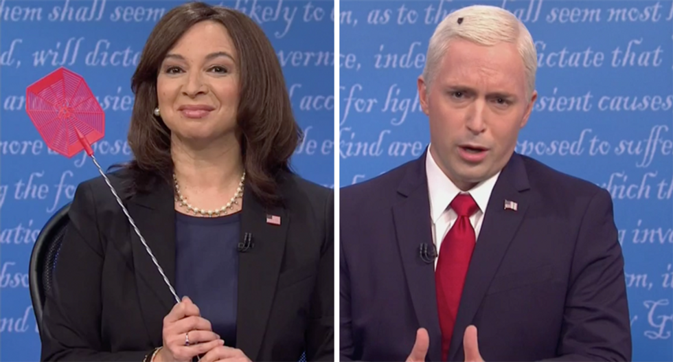 SNL's Joe Biden turns into a fly that lands on Mike Pence's head during VP debate
