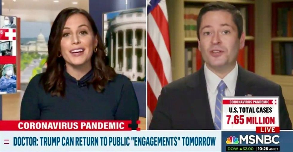 WATCH: MSNBC anchor cuts interview after White House spokesperson refuses to answer when Trump last tested negative