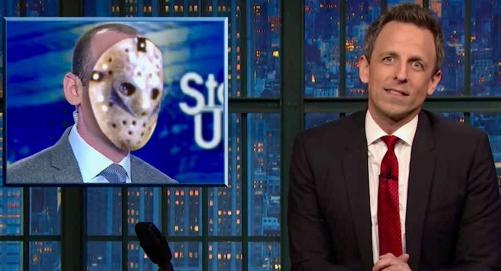 'He'd be less creepy if he wore a hockey mask': Watch Seth Meyers destroy Stephen Miller