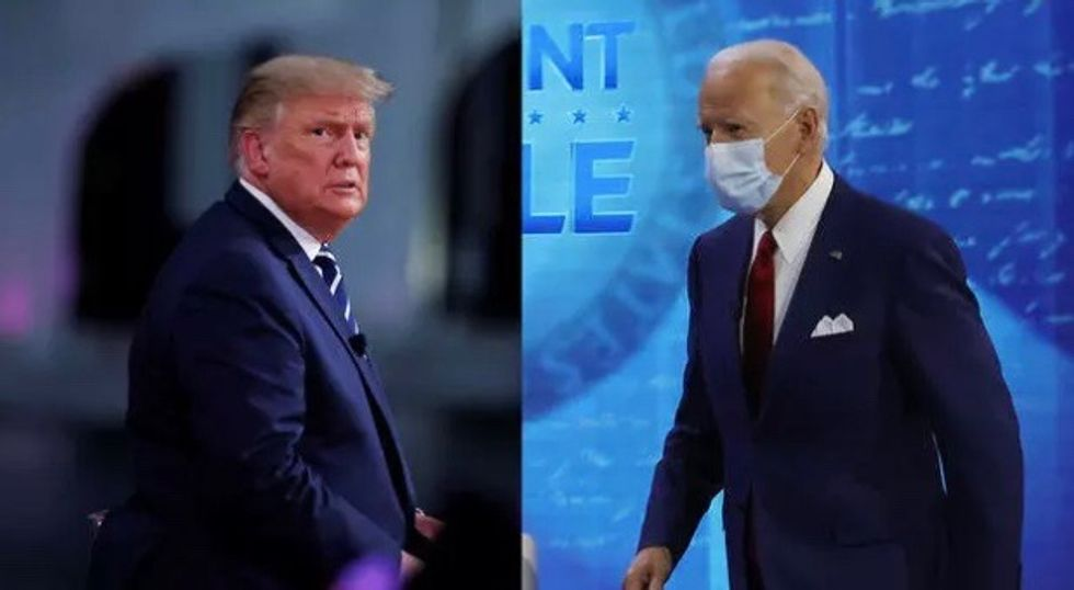 Trump and Biden trade jibes in competing town halls on night of cancelled debate