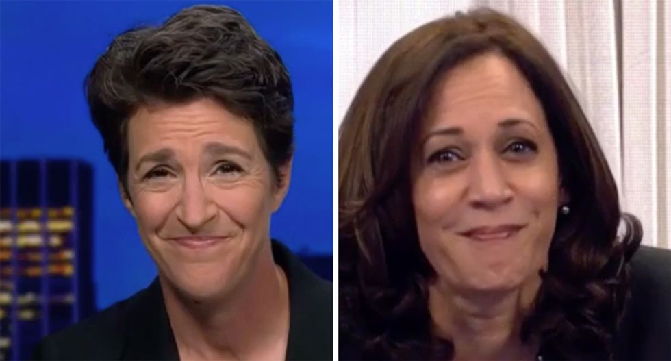Watch the epic response from Kamala Harris when Maddow asked about the fly on Mike Pence's head