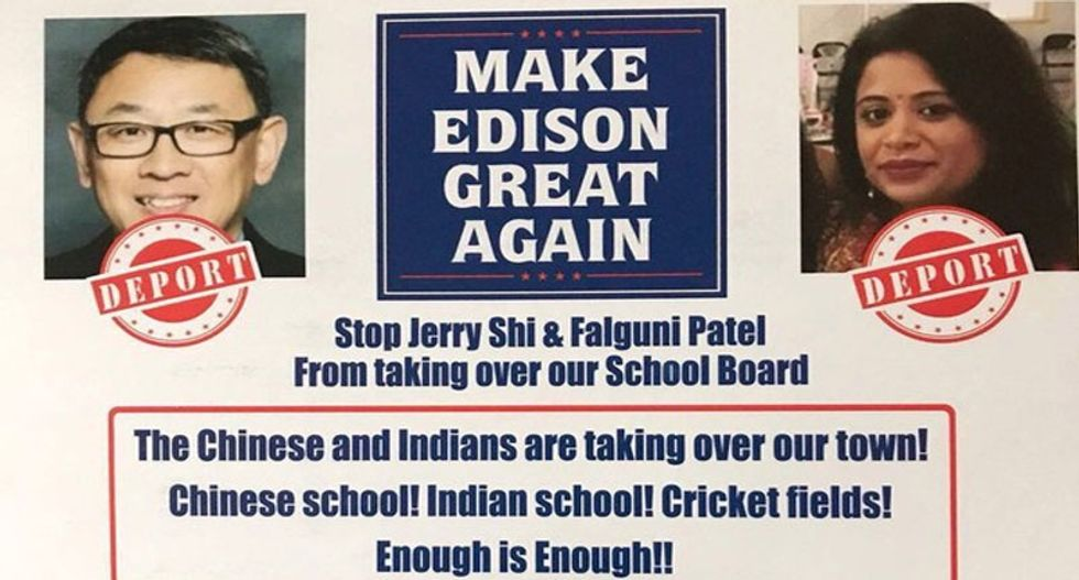 Racist 'Make Edison Great Again' mailer targets Asian school board candidates
