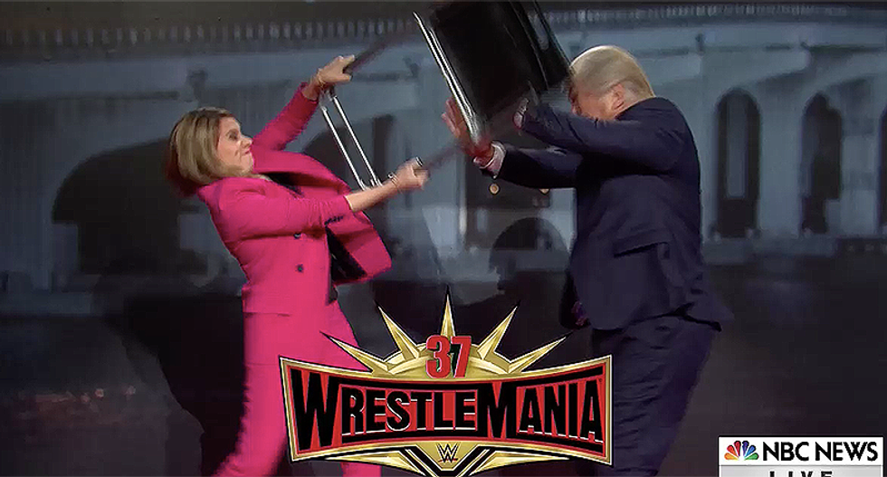SNL mocks Trump being destroyed by Savannah Guthrie with Wrestle Mania-style chair-smashing move