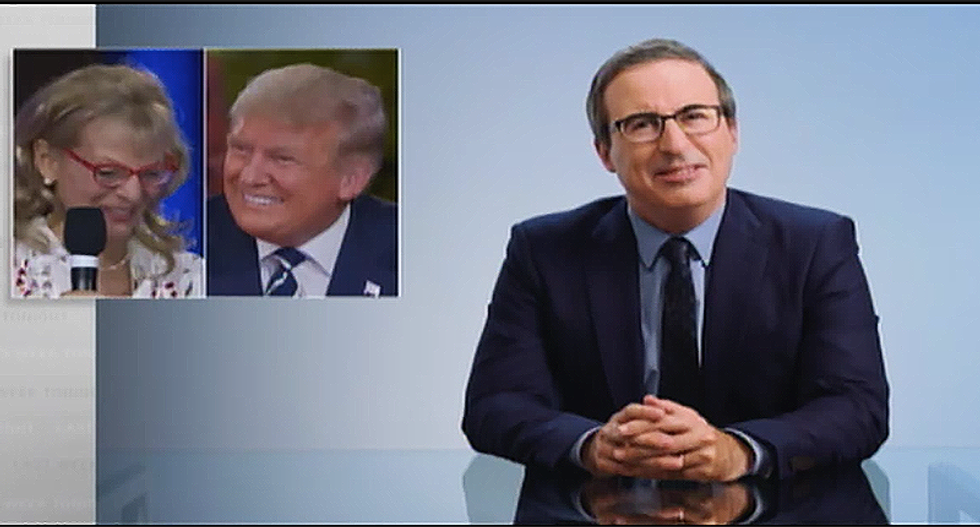 John Oliver mocks compliment on Trump's smile at town hall: Like someone dropped dentures into a jack-o-lantern