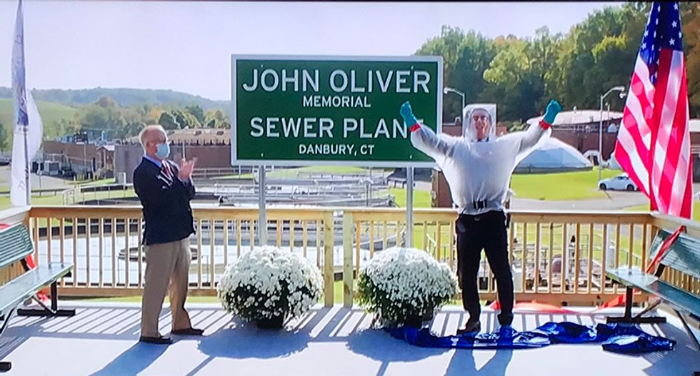 WATCH: John Oliver opens Memorial Sewer Plant named after him in Danbury, Connecticut